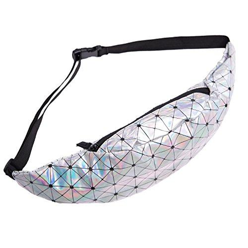 fringoo Unisex Bauchtasche, für Geld, Tasche, für Festivals, Holografisches Design, Leder, Reisetasche, mit Reißverschluss, Lauf-/ Sporttasche Holographic Triangles