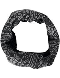 Mens Fairisle Knitted Snood Neckwarmer Scarf Grey One Size