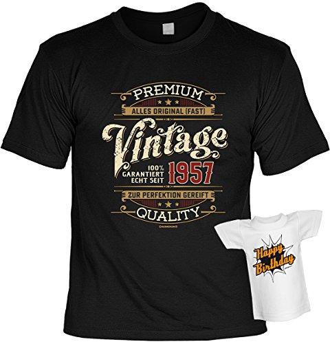 Geburtstag T-Shirt 60 Jahre - 100% Premium Vintage seit 1957 Shirt 4 Heroes bedruckt Geschenk Set mit Mini Flaschenshirt Schwarz