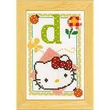 Vervaco - Kit para cuadro de punto de cruz, diseño de Hello Kitty con la letra D, multicolor