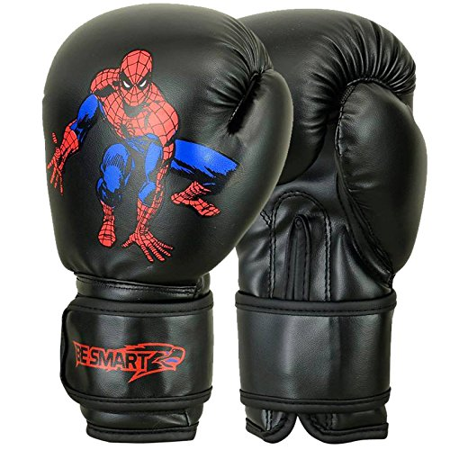 Spider-Man Kinder Boxhandschuhe Junior Pad 113,4 g, 170,1 Boxsack Kinder MMA Youth (Authentic Advance Gel Handschuhe verwendet von Top MMA Clubs), Kinder, schwarz (Junior Pad Smart)