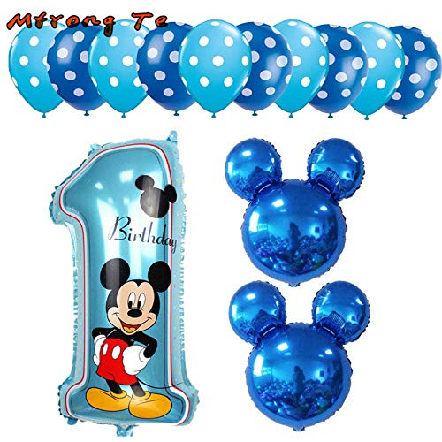 Uniqus 13 Stück Mickey Minnie 1. Geburtstag Mädchen Jungen Ballon Kinder Geburtstag Kombination Dekoration Helium Ballon Party Supplies (Supplies Minnie Party Kind)