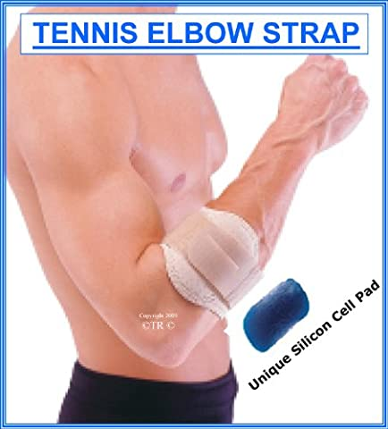 Tennis Elbow Strap with Silicon Support Pad, Neoprene Wrap around with Tension strap, Size = FREE SIZE ADULT, Colour = Beige by Prolineonline