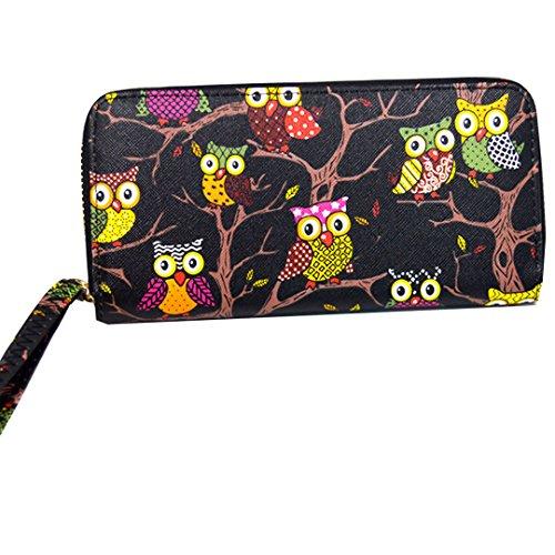 he Cartoon Eule Muster Handtasche Geldbörse mit Reißverschluss Lange Handschlaufe Schwarz (Eule Sachen Für Mädchen)