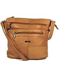 Tan / Light Brown Genuine Real Leather Ladies Medium Handbag Shoulder Bag Long Strap.