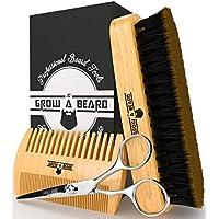 Barba Cepillado Kit Barba Cepillo Peine Modelador Tijeras Set De Afeitar Para Hombres Kit De Cuidado De Bigote Para El Hogar Y Viajar Con Caja De Madera Regalo Ideal Para El Día Del Padre