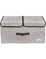 LXOICE Linen Fabric Foldable Cloth Storage Boxes with Lid, Handles, Removable Divider (Grey)