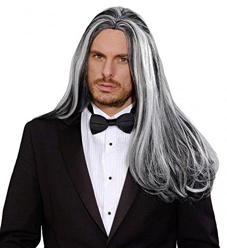 shoperama Hochwertige Dreamhair Perücke Viktorianischer Vampir Grau Geist glatt lang Herren Halloween GRAF (Grau Halloween Haar-perücken)