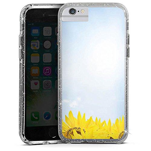 Apple iPhone 6s Bumper Hülle Bumper Case Glitzer Hülle Sonnenblumen Himmel Sonne Bumper Case Glitzer silber