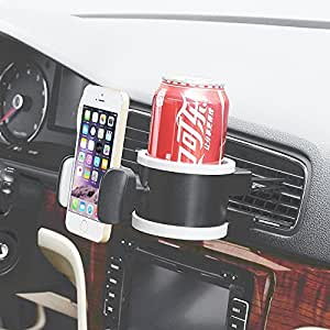Heartly Car Bottle Mobile Phone Holder 360 Rotate Universal Air Conditioner Vent With Adjustable Size Stand Cradle - Metal Grey
