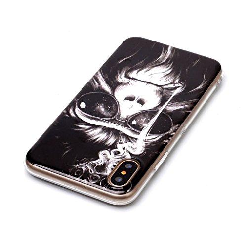 Custodia Cover Per Apple iPhone X 5.8 , WenJie Tramonto Trasparente Silicone Sottile Back Case Molle di TPU Trasparente per Apple iPhone X 5.8 F69
