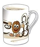 Kaffeebecher Fine 6er-Set Inhalt je 0,28 l,   dünnwandiger, feiner Henkelbecher aus weißem  Porzellan mit Druck 'BOHNE'. Im Geschenkkarton
