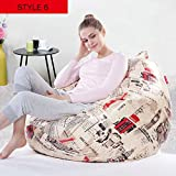 Petsdelite Style 6: 12 Colors Removable Washable Lazy Bean Bag Living Room Furniture Pu Sofa Cover Various Styles Chair Cover 90 * 8