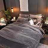 GAOXUE Traumschlaf,Kurzes King-Size-Bettwäscheset aus Plüsch, samtbestickte Doppelbettwäsche, Bettbezug aus Milchsamt und Kissenbezug - Dunkelgrau 9_200 * 230 cm (4 Stück)