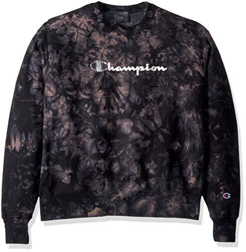 Champion Life Herren Scrunch Dye Reverse Weave Crew Sweatshirt, schwarz, Klein -