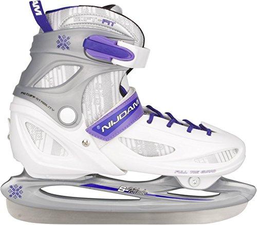 Nijdam Kinder Eishockeyschlittschuhe Iceskater, Silber/Weiß/Purpur, 34-37, 1015522