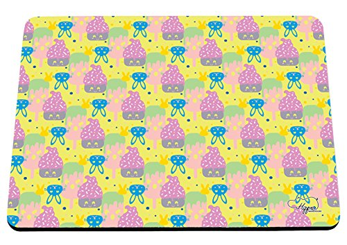 Kawaii Cupcake Kaninchen Muster bedruckt Mauspad Zubehör Schwarz Gummi Boden 240mm x 190mm x 60mm, gelb, Einheitsgröße (Pop-art-make-up-kostüm)