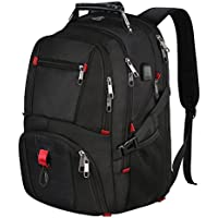 Laptop Backpack, Water Resistant Computer Rucksack with USB Charging Port and Headphone Hole, 17.3 TSA Business College Outdoor Travel Hiking School Bag Fits for most 17 inch Laptop and Notebook-Black