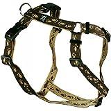 Feltmann Hundegeschirr - Soft-Nylonband braun mit beigen Pfötchen, Bauchumfang 60-80 cm, 25 mm Bandbreite