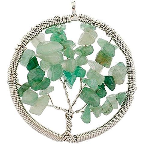 Contever® Colgantes de Joyas de AventurinaVerdeNaturalVida árbol De La Collar del Encanto para las Niñas y las