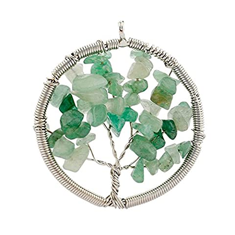 Contever® Jewellery Crystal Element Natural Green Aventurine Pendant Necklace Shaped Tree of Life