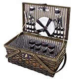 Mendler Picknickkorb-Set für 4 Personen, Picknicktasche Weiden-Korb, Porzellan Glas Edelstahl, braun-weiß