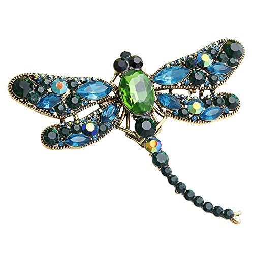 Libelle Vintage-kleidung (grün hübsch Broschen für Frauen netten große funken Strass Hochzeit Brautkristall Brosche Stifte Bouquet)