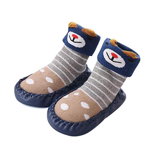 MAYOGO Niños Calcetines Antideslizantes con Suela de Goma Anti-slip Zapatos de Primer Paso para Bebés Zapatillas de Casa… 1