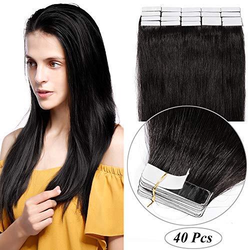 Extension adesive capelli veri biadesivo 40 fasce 100g tape extension biadesive 55cm 100% remy human hair lisci nero naturale 2.5g/fascia