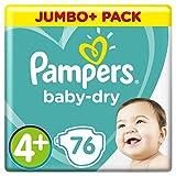 Pampers Baby-Dry Windeln Größe4+ (10–15kg), Luftkanäle für atmungsaktive Trockenheit die ganze Nacht, extra saugfähig, Jumbo Plus Pack, 1er Pack (1 x 76 Stück)
