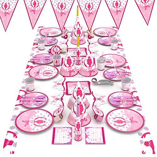 ATNKE Soirée à thème fournit Un Service de Table en Papier pour 6 invités de Son Anniversaire, Vaisselle jetable, pour Enfants Décorations d'anniversaire et Jouets Ballet Princesse