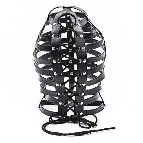 Anmr BDSM Fetisch Sex Toys Kopf Bondage Schwarz PU-Leder-Maske