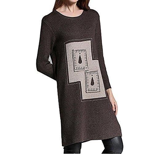 MCC Grandi dimensioni della donna ispessimento delle goccioline di acqua gonna maglione maniche lunghe di rendering maglia girocollo colore Hit Patch , brown card color , one size