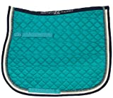 USG Dressage Quillted Saddle Cloth with Double Rope Piping, Full, Lake Blue/ Ecru/ Navy with Border, Navy/ Light Green