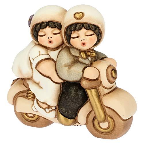 Thun® - coppia di sposini piccoli su moto - regalo o bomboniere di matrimonio - ceramica - linea i classici
