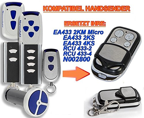 Preisvergleich Produktbild NORMSTAHL EA433 2KM, EA433 2KS, EA433 4KS, RCU433-2, RCU433-4, N002800 Kompatibel Handsender, 433.92Mhz rolling code keyfob