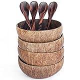 Bali Ernte natürlicher Kokosnuss Schalen und Holz Sono Löffel–100% Vegan & Natural handgefertigt aus wieder Kokosnussschale 4 Bowls with 4 Spoons Naturbraun