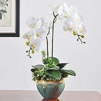 Flores artificiales Orchid vasos cerámicos macetas blanco pequeño Home decoraciones para Bodas Cumpleaños Bouquet Bunch Hotel