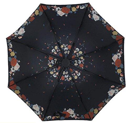 Ruiren Parapluies Pliables Coupe-Vent, Revêtement Spécial Avec Protection Anti-UV, Parapluie de Soleil ou de Pluie, Portatif Pour un Transport Facile