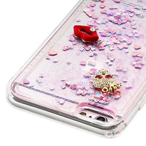 """MOONCASE iPhone 6S Plus Coque, Glitter Sparkle Bling [Owl] Faux Diamant Dessin Motif Liquide Étui Coque pour iPhone 6 Plus / 6S Plus 5.5"""" Soft TPU Gel Souple Case Housse de Protection Or 04 Rose 02"""