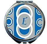 Rikki Knight Tm E Initial Dazzling Blue Circle Designs Design Round Compact Mirror