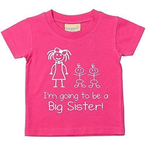 I'Monate gehe werdende Große Schwester Zwillinge pink T-Shirt Baby Kleinkind Kinder erhältlich in Größen 0-6 Monate bis 14-15 Jahre NEU Baby Schwester Geschenk - Rosa, 104 (Große Schwester-kleinkind-shirt)