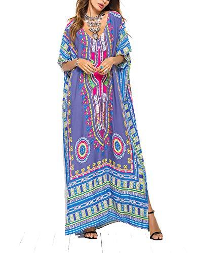 Gudelaa Frauen weichen afrikanischen Print Kleid Robe vertuschen ethnischen Stil Strand Kleid Rock Dashiki Print Kaftan Badeanzug Maxikleid weiß