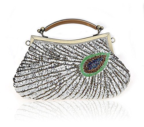 borsa modello signora Peacock/in rilievo della frizione/borsa da sera con paillettes/pacchetto nuziale-A A