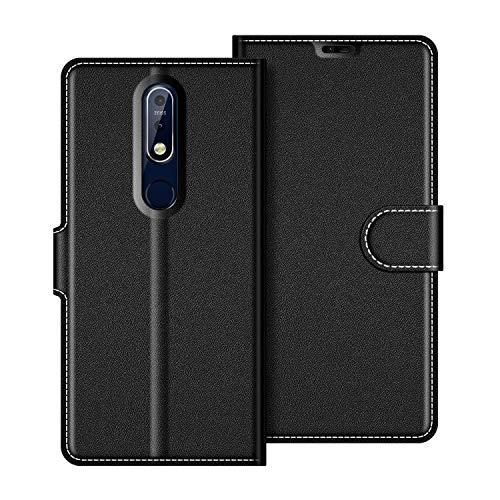 coodio Nokia 7.1 Hülle Leder, Nokia 7.1 Lederhülle Ledertasche Wallet Handyhülle Tasche Schutzhülle mit Magnetverschluss/Kartenfächer für Nokia 7.1 / Nokia 7 2018, Schwarz