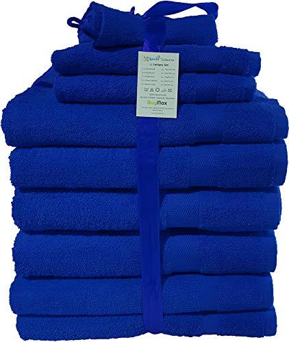 Buymax - 10 teiliges Handtuch-Set, 2 Badetücher 2 Gästetücher 2 Waschhandschuhe 2 Duschtücher 2 Badvorleger, Dunkelblau