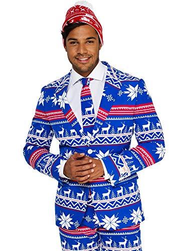 Opposuits Weihnachtsanzüge für Herren in Verschiedenen Drucken - besteht aus Sakko, Hose und Krawatte + Weihnachtsmütze Gratis