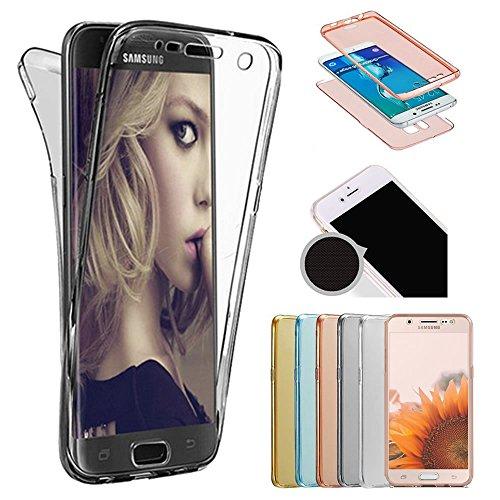Sycode Galaxy J8 2018 Full Body 2 in 1 Hülle,Transparent Vorne und Hinten 360°Full Protective Schale Etui Case Cover für Samsung Galaxy J8 2018-Schwarz