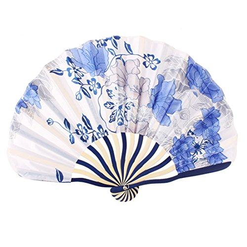 sourcingmap Dame Bamboo Rahmen Floral bedrucktes Muschel geformten Sommer Hand Falten des Kühlerventilators de -
