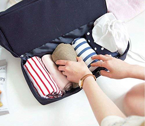 Malirona 2-in-1 travel beach shopping bag with shoe organizer canvas beach bag (Deep Blue)